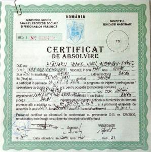 certificat de formator